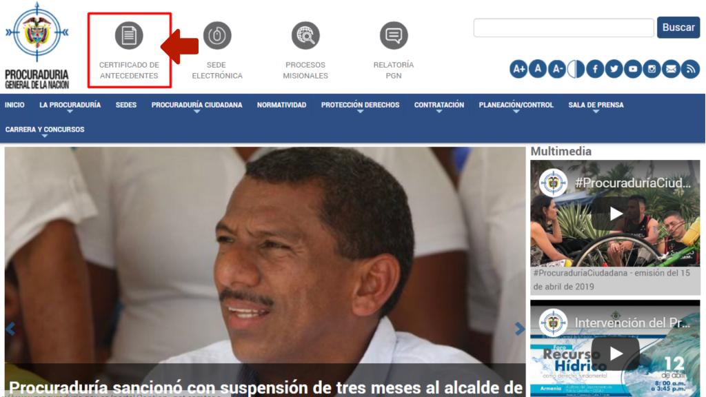 Generar antecedentes de la procuraduría colombiana